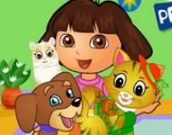 لعبة دورا العناية بالقطط والكلاب
