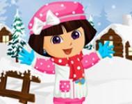 لعبة دورا تلبيس ملابس الشتاء